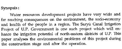 Management of environmental problems of Saryu Canal Irrigation Project of  Uttar Pradesh